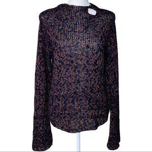 CO & Eddy Loose Weave Keyhole Sweater Size M